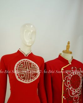 Áo Dài Cặp Đôi Đỏ Đính Hỷ