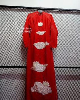 Áo Dài Đỏ Đính Sen Nổi kèm quần