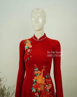 Áo Dài Thêu Chim Công Đỏ kèm quần