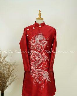 Áo Cách Tân Nam Đỏ Thêu Rồng