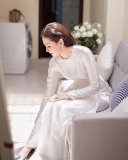 Áo dài tơ tằm trắng kết hạt kèm quần