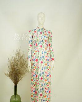 Áo dài truyền thống hoa  kèm quần