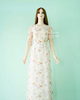 Áo dài truyền thống hoa 4 tà  kèm quần